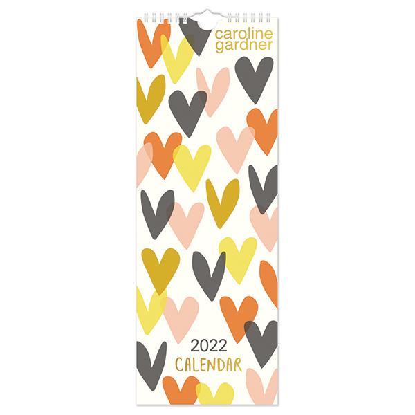 C22024 Caroline Gardner Hearts Slim Calendar