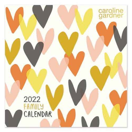 C22025 Caroline Gardner Hearts SQ Family Calendar
