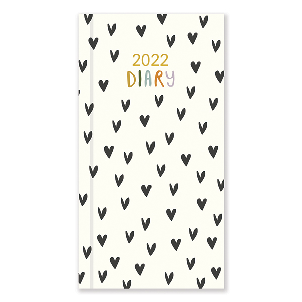 D22507 Caroline Gardner Hearts Slim Diary